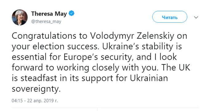 Рассчитываю на тесное сотрудничество с вами, - Мэй поздравила Зеленского с успехом на выборах 01