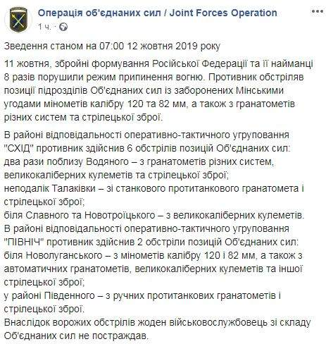 Враг за минувшие сутки 8 раз атаковал позиции ОС: потерь нет 01