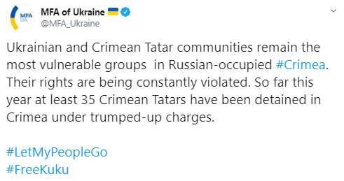 Украинские и крымскотатарские общины остаются наиболее уязвимыми группами на оккупированном Россией полуострове, - МИД 01
