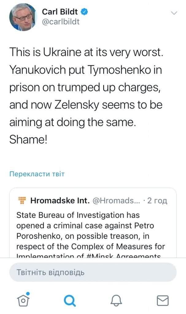 Бильдт предостерег Зеленского от политического преследования Порошенко 01